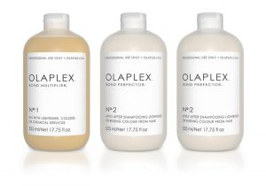 bottles of olaplex hair treatment system
