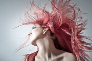 woman with dyed pink hair colour
