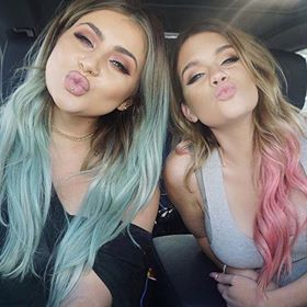 two girls with pastel shades in their hair
