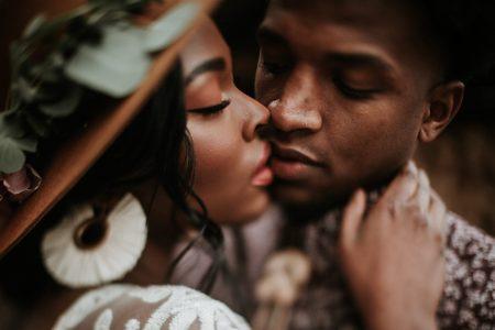 couple kissing romantically