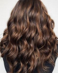 Woman with coloured hair balayage